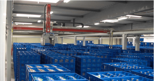 <ol><li>Up to 4 Robots sharing the working Area<li>High storage density.<li>Comparatively low maintenance when compared to mini load systems.</ol>